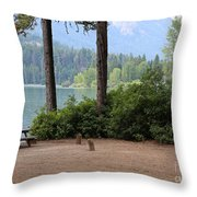 Camp By The Lake Throw Pillow
