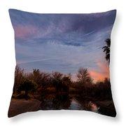 Camp Davis River Sunset Throw Pillow