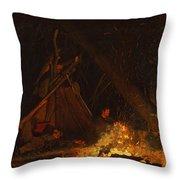 Camp Fire Throw Pillow