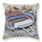 Camp Nou - Barcelona Fc Throw Pillow