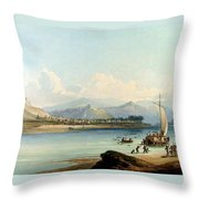 Camp Of The Gros Ventres Of The Prairies Throw Pillow