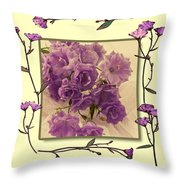 Campanula Framed With Pressed Petals Throw Pillow