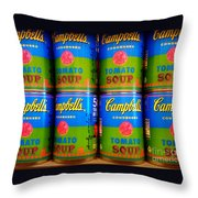 Campbell's Tomato Soup Retro Andy Warhol Throw Pillow