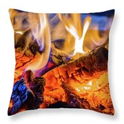 Campfire, Lapland Sweden Throw Pillow