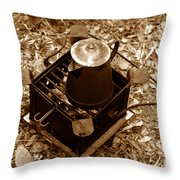 Camping Coffee Throw Pillow
