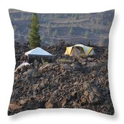 Camping On The Moon Throw Pillow