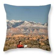 Camping With Laptop Throw Pillow