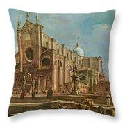 Campo Dei Santi Giovanni E Paolo And The Scuola Grande Di San Marco, Venice Oil On Canvas Throw Pillow