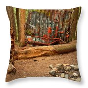 Campsite By The Box Car Throw Pillow