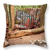 Campsite Near A Train Wreck Throw Pillow