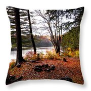 Campsite On Cary Lake Throw Pillow