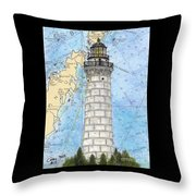 Cana Island Lighthouse Wi Nautical Chart Map Art Throw Pillow