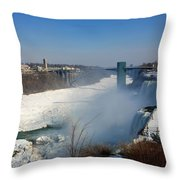 Canada And America At Niagara Falls Throw Pillow