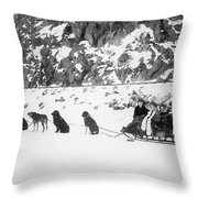 Canada Dog Sled, C1910 Throw Pillow