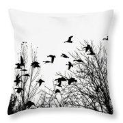 Canada Geese Flight Silhouette Throw Pillow