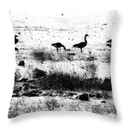 Canada Geese In Black And White Throw Pillow