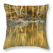 Canada Geese On A Golden Morning Throw Pillow