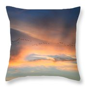 Canada Goose Flock Sunset Throw Pillow