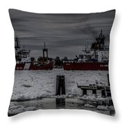 Canadian And United States Icebreakers Throw Pillow