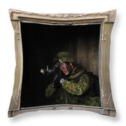 Canadian Army Soldier Conducts Military Throw Pillow by Stocktrek Images