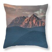 Canadian Coastal Mountains Sunset Throw Pillow