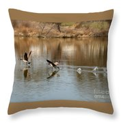 Canadian Geese Takeoff Throw Pillow