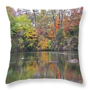 Canadian Goose Swimming Through The Autumn Reflections On The Pond Throw Pillow