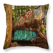 Canadian Pacific Box Car Wreckage Throw Pillow