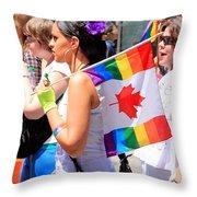 Canadian Rainbow Throw Pillow
