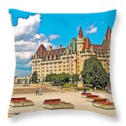 Canadian War Memorial And Chateau Laurier In Ottawa-ontario  Throw Pillow