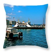 Canakkale Ferry Dock-turkey Throw Pillow