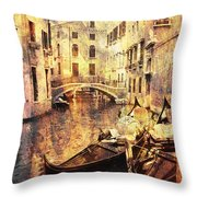 Canal And Docked Gondolas In Venice Throw Pillow