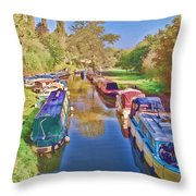 Canal Barges Throw Pillow