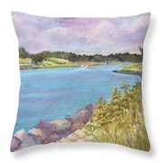 Canal Beach Throw Pillow