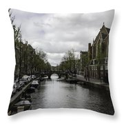 Canal Behind Oude Kerk In Amsterdam Throw Pillow