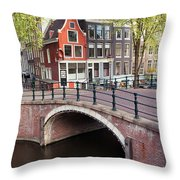 Canal Bridge And Houses In Amsterdam Throw Pillow