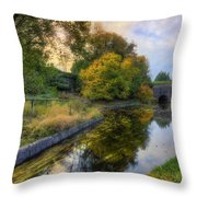 Canal Drifting Leaves Throw Pillow