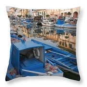 Canal In Grado With Fishing Boats Throw Pillow