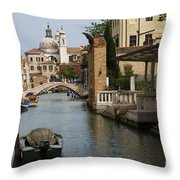 Canal In Venice Throw Pillow