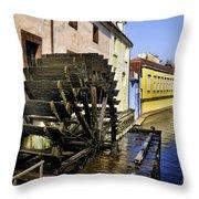 Canal Waterwheel Throw Pillow