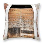 Canalside Weathered Door Venice Italy Throw Pillow