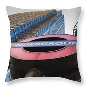 Canary Wharf Tube Sign Throw Pillow