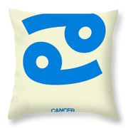 Cancer Zodiac Sign Blue Throw Pillow