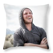Candid Portrait Of Laughing Young Throw Pillow