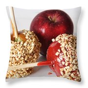 Candied Caramel And Regular Red Apple Throw Pillow