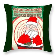 Candies And Cookies Funny Christmas Santa  Throw Pillow