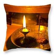 Candle And Incense Sticks Throw Pillow