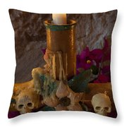 Candle On Day Of Dead Altar Throw Pillow