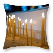 candles in the Catholic Church shallow depth of field Throw Pillow