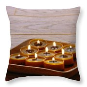 Candles In Wood Tray Throw Pillow
